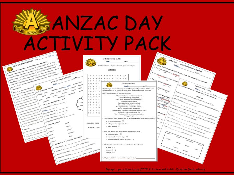 AnzacDayActivityPack - 6 worksheets