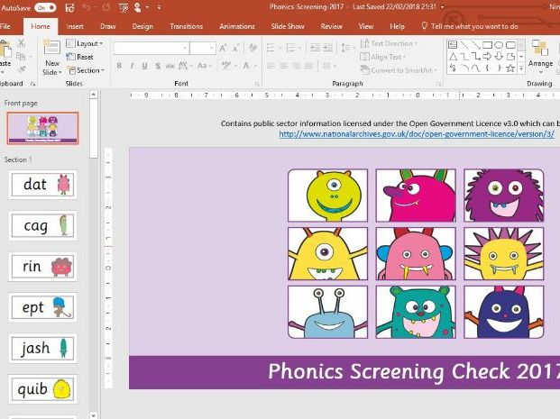 Phonics Screening Check - Four PowerPoints - 2014, 2015, 2016, 2017 & Answer Sheets