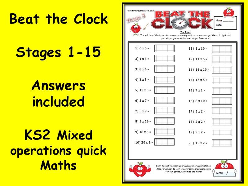 Beat the clock - Maths activity