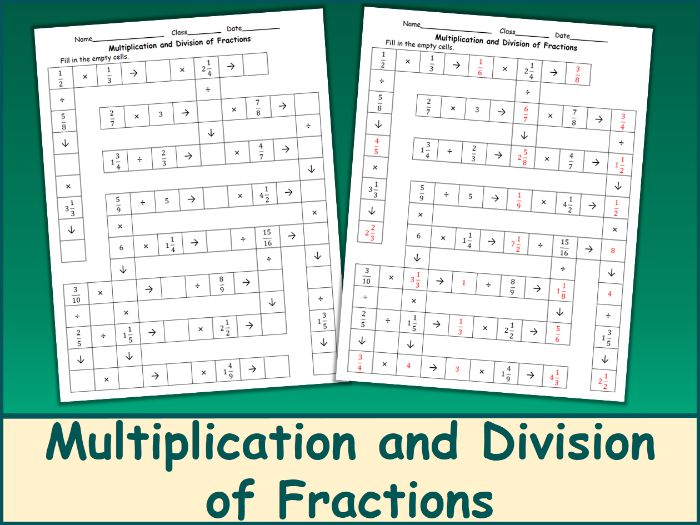 Multiplication and Division of Fractions Crossword Puzzle