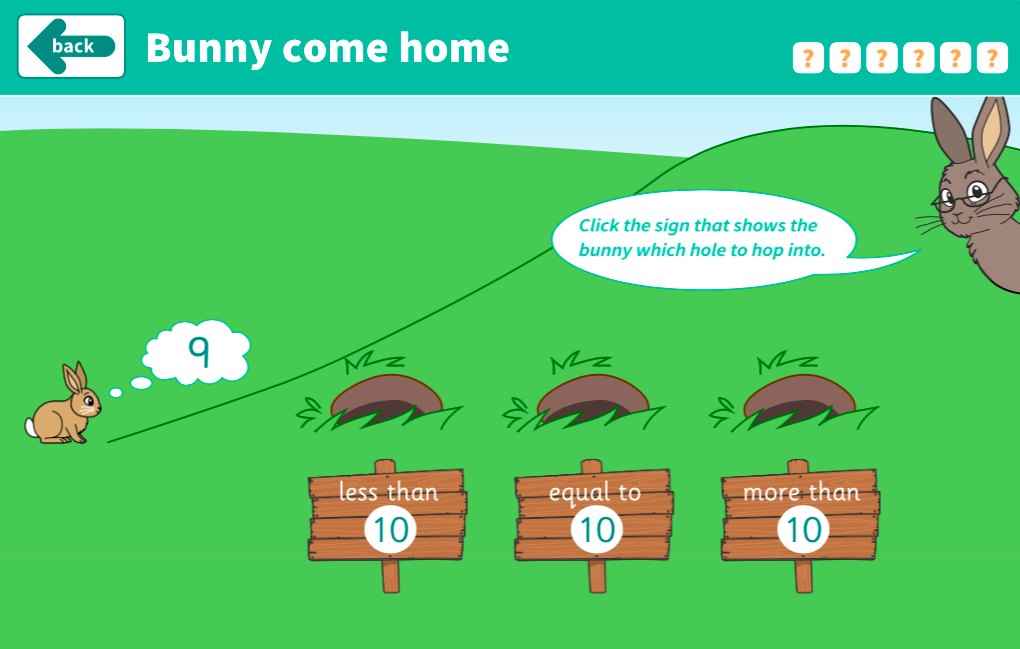 Comparing and Ordering Numbers to 10 - Bunny Come Home Interactive Game - EYFS Number