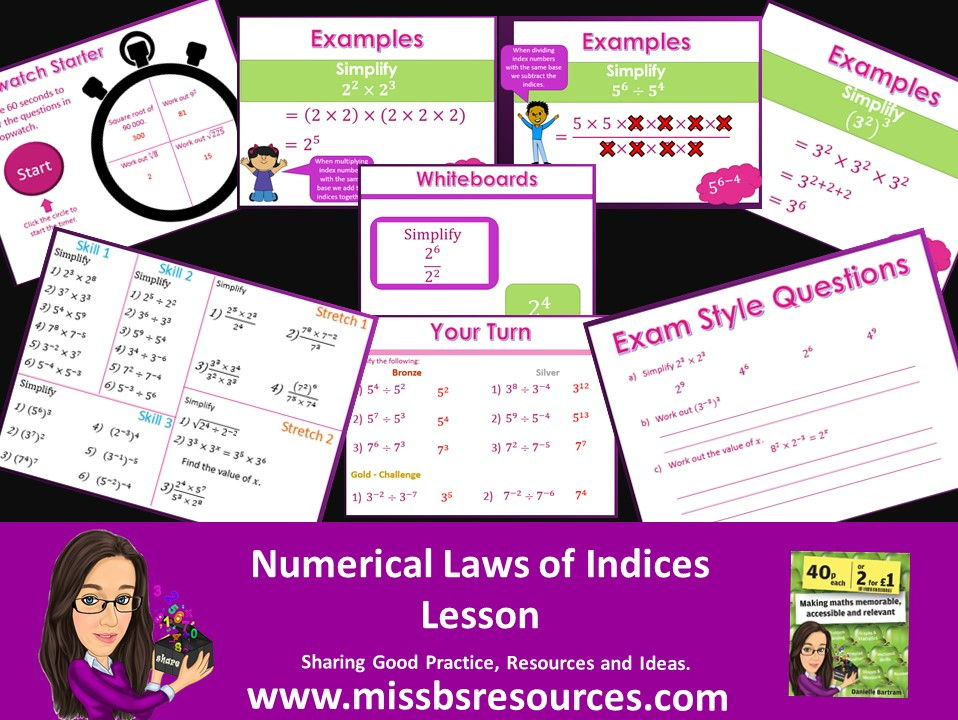 Numerical Laws of indices ( multiply, divide, (a^2)^3) Lesson: Examples, Differentiated & Exam Qs