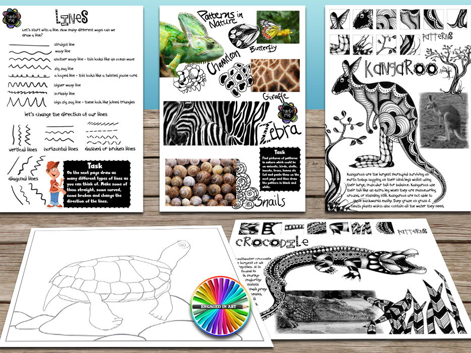Tangle Me Aussie Animals - A Zentangle - inspired drawing activity for students of all ages