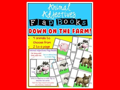 Animal Adjectives - Flap Books - Parts of Speech - Grammar - Adjectives - Farm Animals