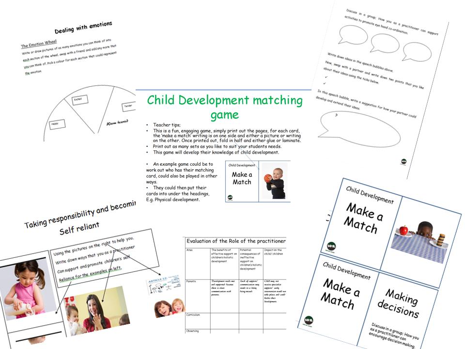 Child development matching game and workbook