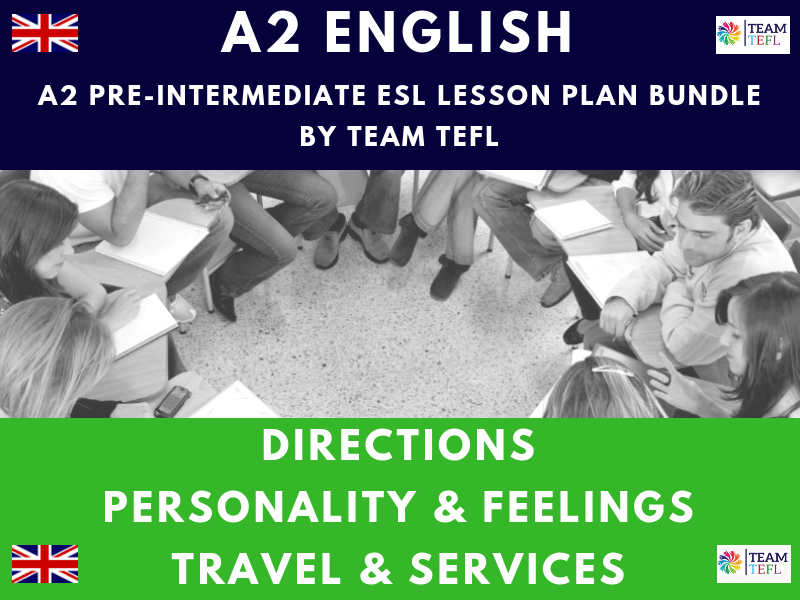 Directions / Personality & Feelings / Travel & Services A2 Pre-Intermediate ESL Lesson Plan Bundle