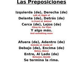 Spanish Prepositions, Las Preposiciones Rhyme