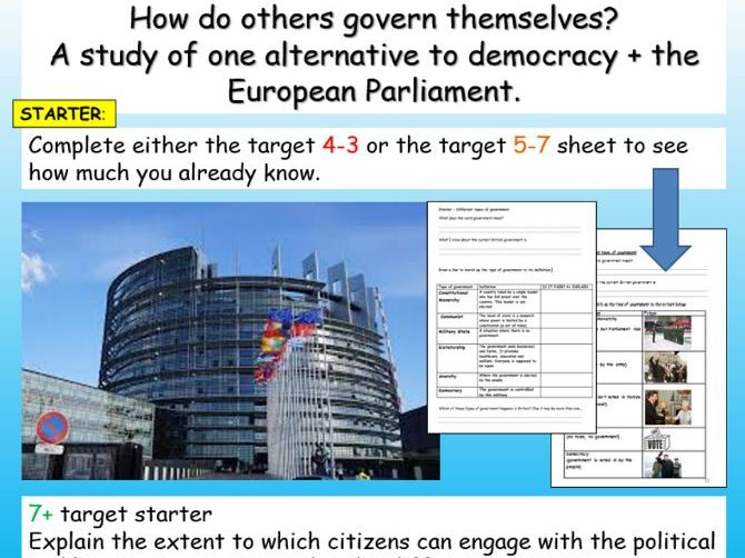 Citizenship GCSE 9-1 European Parliament + Democracy vs Dictatorship