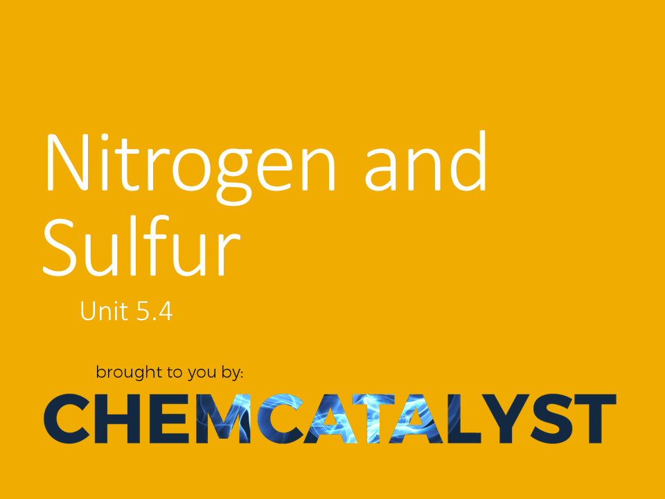 CIE – AS Chemistry – Unit 5.4 'Nitrogen and Sulfur'