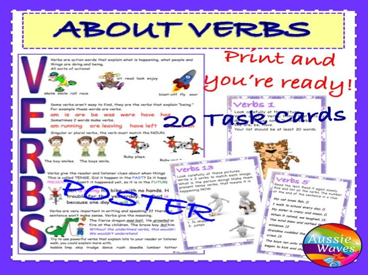 Teaching Parts of Speech VERBS Task Cards and Poster