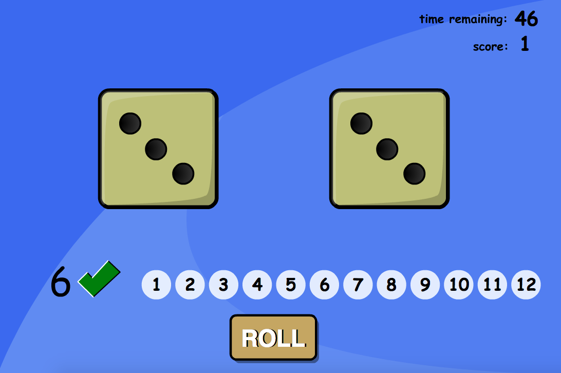 Addition to 20 - Adding Two Dice Interactive Game - KS1 Number