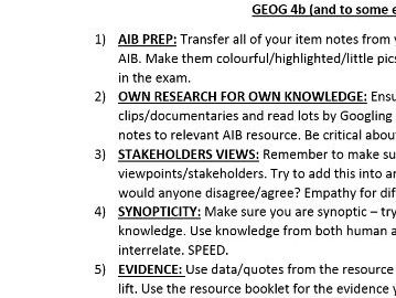 TOP TIPS for GEOG4b