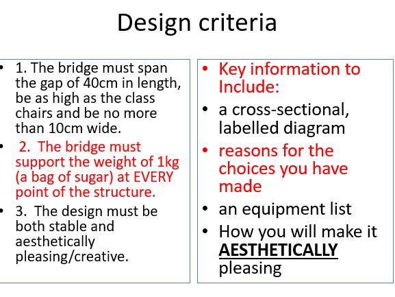 Y5 DT Bridges Topic