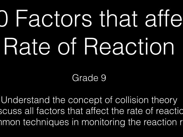Quiz and Class Activity for Rate of Reaction