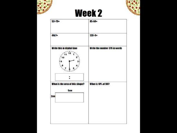 Eight week numeracy starter pack (Pizza progress)