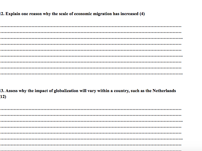 Human Geography Past Paper Booklet