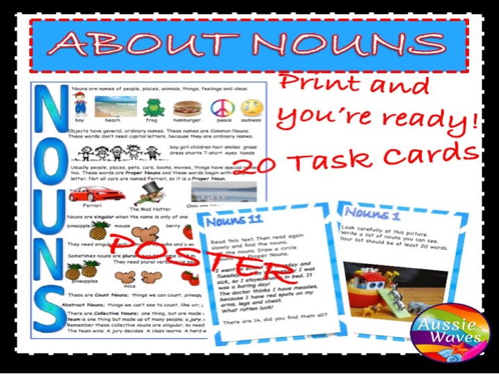 Teaching Parts of Speech NOUNS Task Cards and Poster