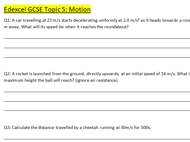 GCSE Physics Motion, Pressure and Electricity Practice Questions and Answers