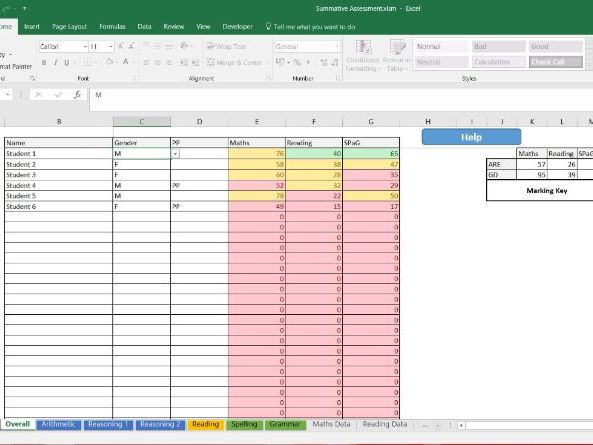 Year 6 SATS Summative Assessment Tool - Individual class data and multiple class import view
