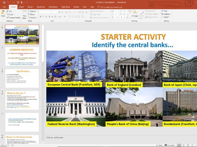 15. Role of Central Banks (Slides, Activities and Notes) - Edexcel A-Level Economics - Theme 4