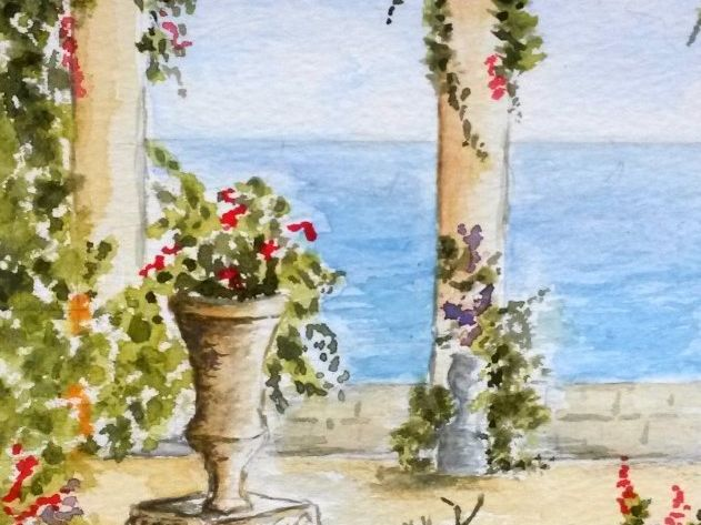 Mediterranean garden.  Watercolour lesson for years 5 and 6