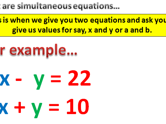 Simultaneous Equations - Substitution and Graphical Methods