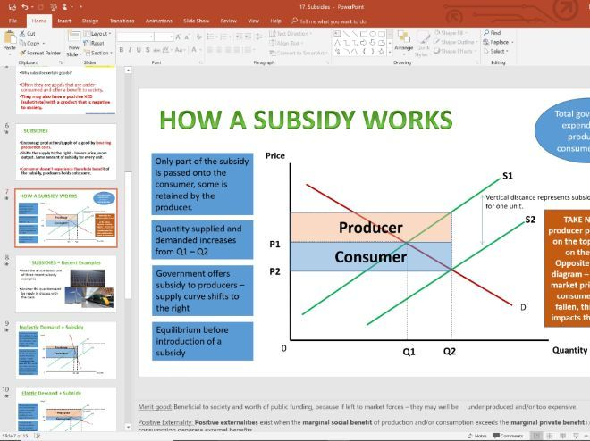 17. Subsidies/Subsidy (Slides, Activities and Notes) - Edexcel A-Level Economics - Theme 1