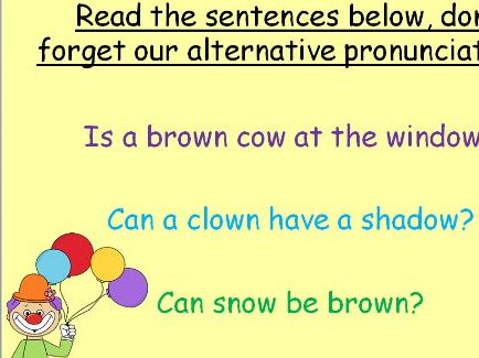 Phase 5 phonics resource alternative pronunciations and tricky words