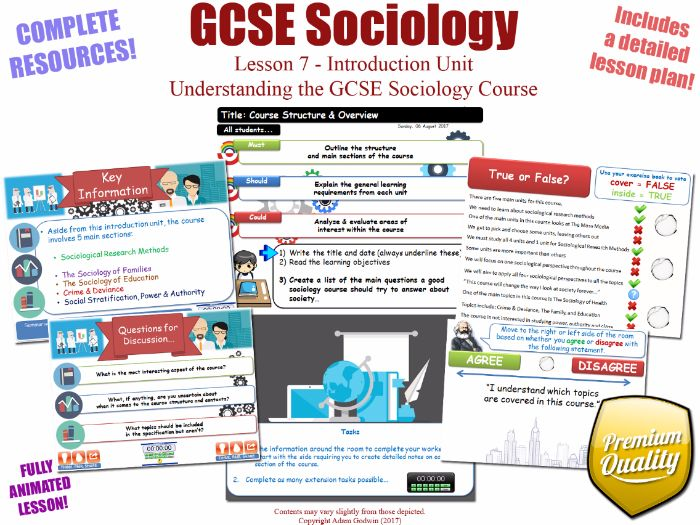 Understanding the GCSE Sociology Course - Introduction Unit L7/12 - GCSE Sociology