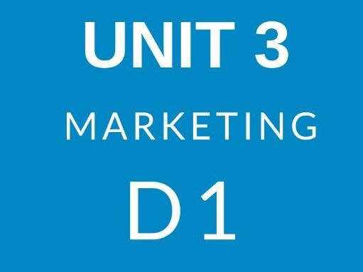 Unit 3 Introduction To Marketing D1