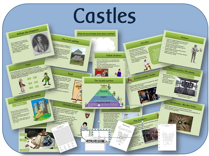 Castles & the Norman invasion - powerpoint lessons, worksheets and activities