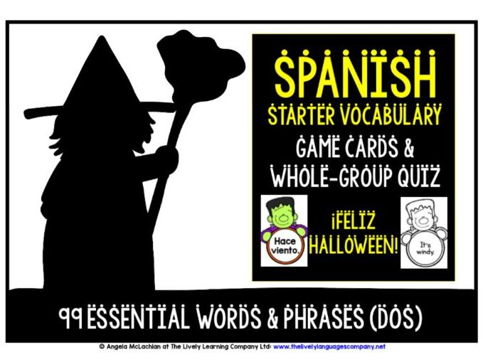 SPANISH VOCABULARY HALLOWEEN CARDS 2