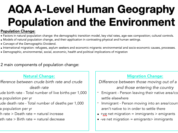 AQA A Level Geography: Population and the Environment - Population Change