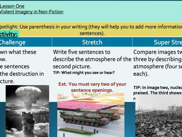 KS3 Non-Fiction Reading - Analysing Violent Imagery  (Nuclear Weapon Theme)