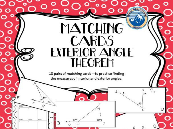 Exterior Angle Theorem Matching Card Theorem