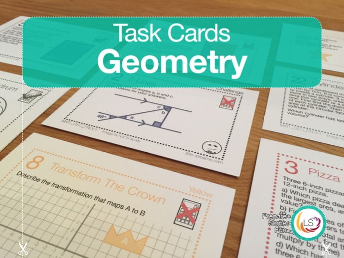 Geometry Problems | Task Cards | 24 Questions 4 Differentiations 96 Cards