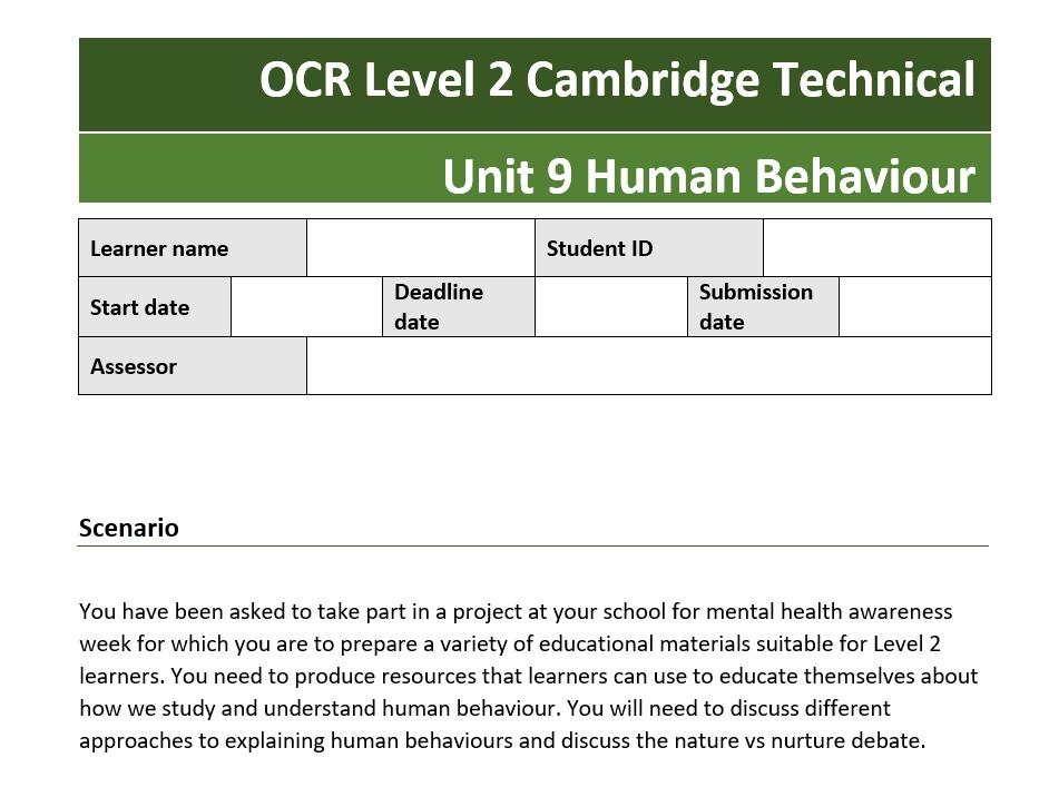 OCR Technical Science U9 Human Behaviour