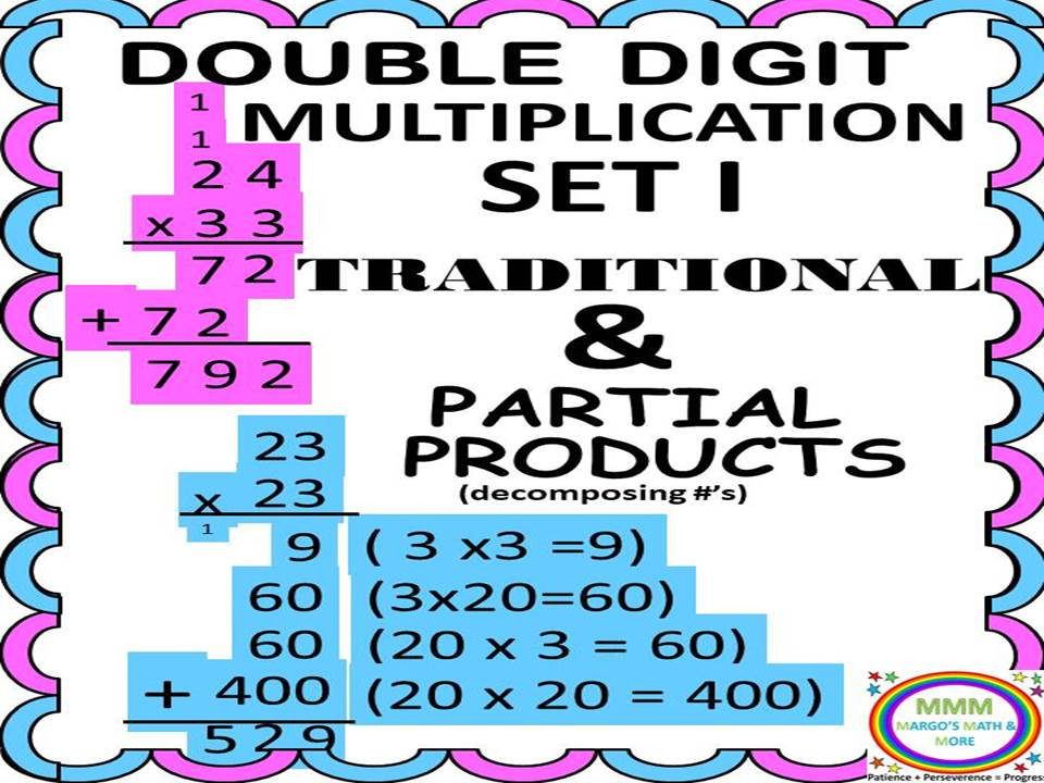 Double Digit Multiplication- traditional and Partial Products