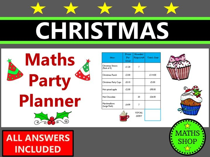Christmas Maths Party Planner Money Word Problems