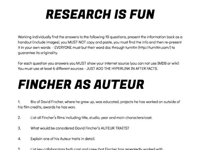 FILM Small Scale Research Mini Dissertation Auteur Theory  David Fincher PP & activity Harvard ref