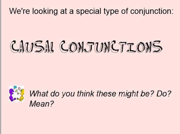 Causal conjunctions for explanation texts
