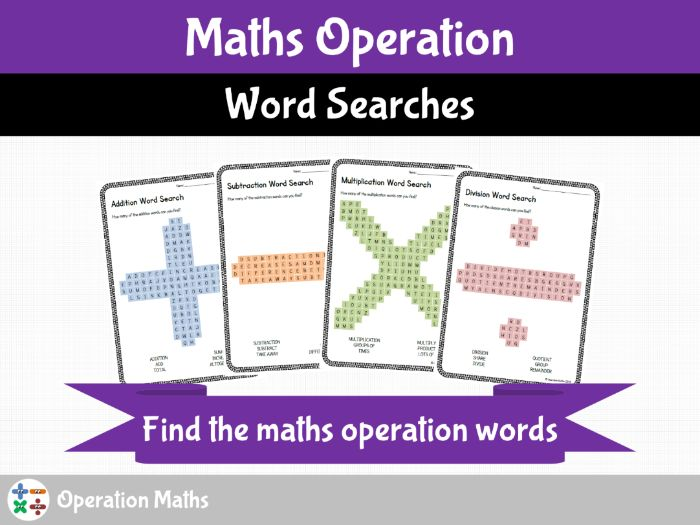 Maths Operation Word Searches