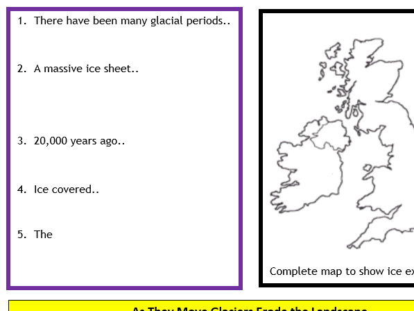 AQA GCSE 9-1 : Flipped Learning Revision Booklet- Glacial Landscapes in the UK Part 1