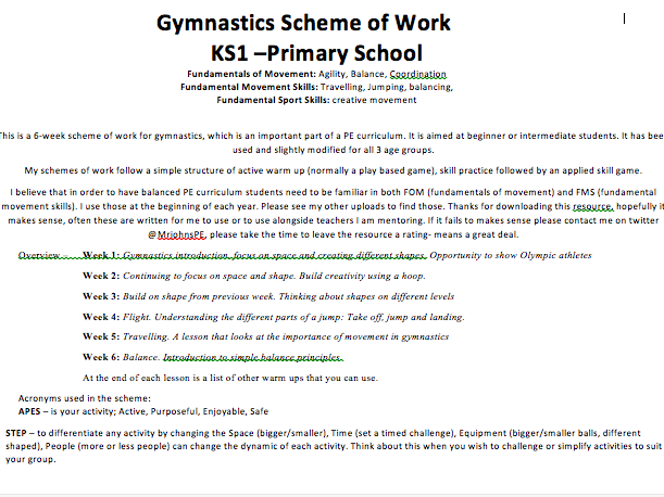 Gymnastics KS1 6 week scheme of work