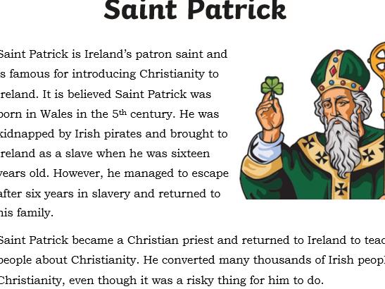 Primary English  KS2 - St Patricks Day -comprehension activity