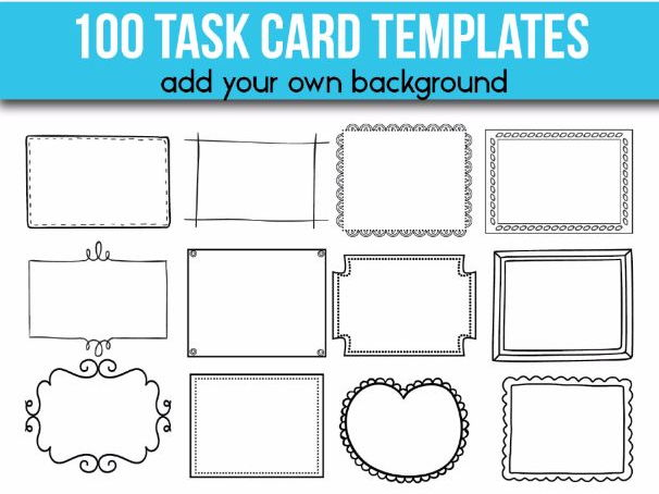 100 Task Card Templates Editable Flash Card Templates By