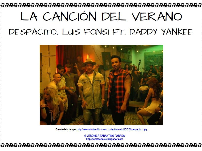 Summer Song 'Despacito' with activities for Spanish class