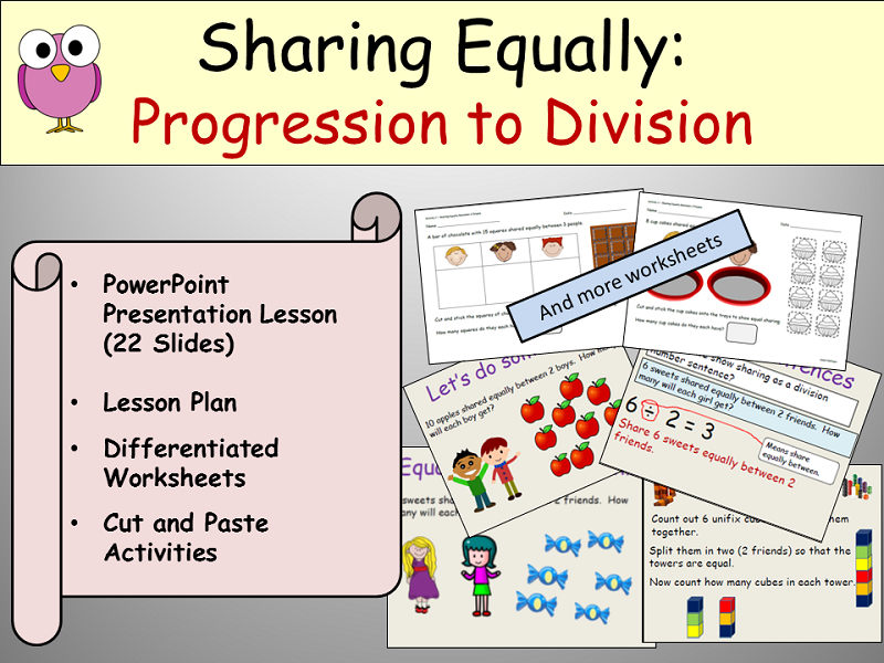 Division: Sharing Equally - Presentation, Lesson Plan, Activities and Worksheets - Keystage 1