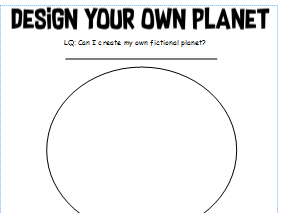 Design your own planet worksheet
