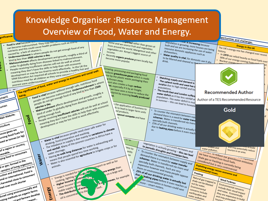 GCSE AQA 9-1: Resource Management Overview -  Knowledge Organisers and Revision Summaries.